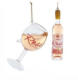 Kurt Adler Rosé Glass Wine Bottle Wine Glass Ornament Set