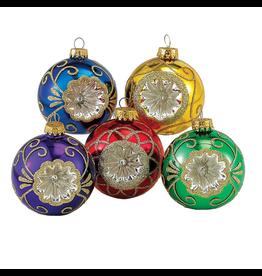 Kurt Adler Multi Colored Glass Reflector Christmas Ornaments 5pc Set