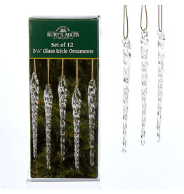 Kurt Adler Twisted Clear Glass Icicle Ornaments12pc 5.25 Inch