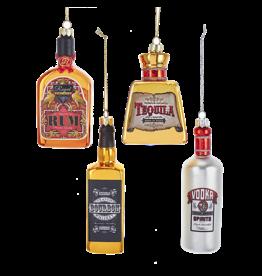 Kurt Adler Glass Alcohol Bottle Ornaments 4 Assorted