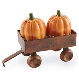 Mud Pie Pumpkin Salt And Pepper Shakers In Wagon Caddy