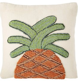 Mud Pie Pineapple Pillow Canvas Wool Hooked Pillow