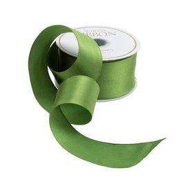 Caspari Solid Green Satin Wired Ribbon - 9 Yard Spool