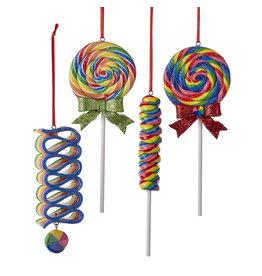 Kurt Adler Glitter Lollipop Ornaments 4 Assorted