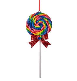 Kurt Adler Glitter Round Swirl Rainbow Lollipop Ornament Red Bow