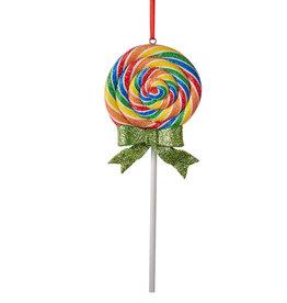 Kurt Adler Glitter Round Swirl Rainbow Lollipop Ornament Green Bow