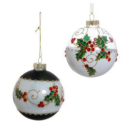 Kurt Adler Holly Leaves and Berries 80mm Glass Ball Ornaments Set 6