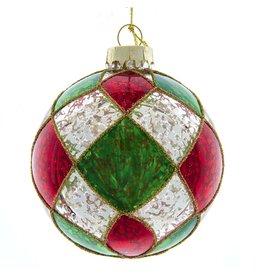 Kurt Adler Red Green Silver Checker Glass Ball Ornaments Set 6