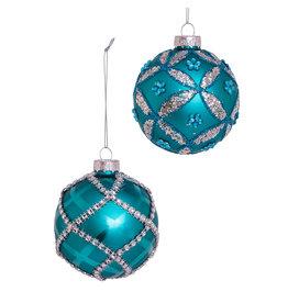 Kurt Adler Teal Glass Ball Ornaments W Embellishments Set of 6