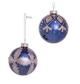Kurt Adler Navy And Silver Glass Ball Ornaments Set of 6