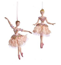 Kurt Adler Blush Pink Ballerina Ornaments 2 Assorted