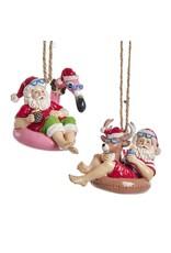 Kurt Adler Beach Santa Sitting On Pool Float Ornaments 2 Assorted