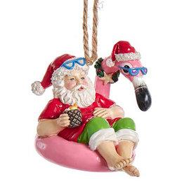 Kurt Adler Beach Santa Sitting On Flamingo Pool Float Ornament