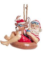 Kurt Adler Beach Santa Sitting On Reindeer Pool Float Ornament