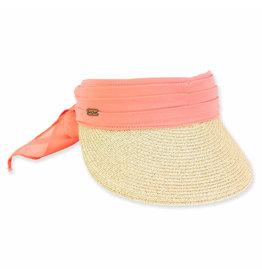 Sun N Sand Women's Hats Chiffon Scarf Straw Visor - Coral