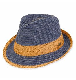 Caribbean Joe Mens Hats Straw Fedora - Blue - XL