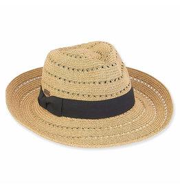 Sun N Sand Men's Hats Straw Fedora w Black Bowtie Banding - Toast
