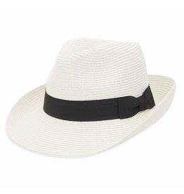 Sun N Sand Women's Hats Straw Safari w Black Ribbon Bow Trim - White