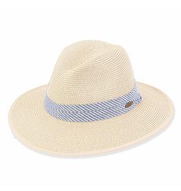 Caribbean Joe Mens Hats Straw Safari Blue Stripe Trim - ML