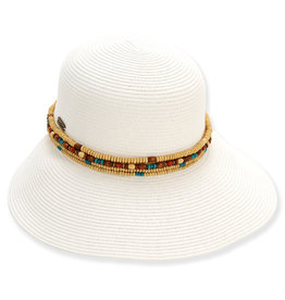 Sun N Sand Womens Hats Backless Wide Brim Beaded Trim - White
