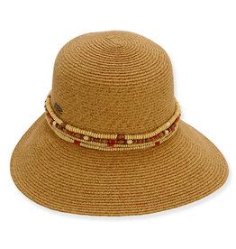 Sun N Sand Womens Hats Backless Wide Brim Beaded Trim - Natural