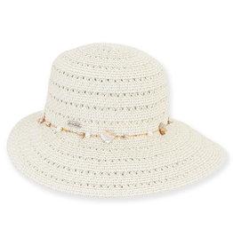 Sun N Sand Womens Hats Tapered Wide Brim Shell Trim - Ivory