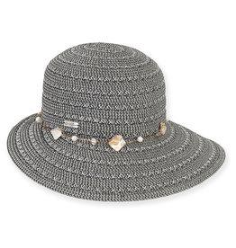 Sun N Sand Womens Hats Tapered Wide Brim Shell Trim - Black