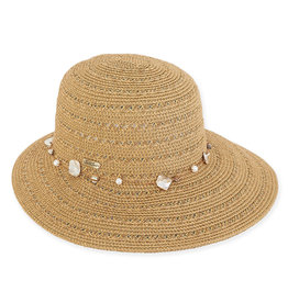 Sun N Sand Womens Hats Tapered Wide Brim Shell Trim - Natural