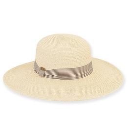 Sun N Sand Womens HatsWide Brim Striped Band - Natural