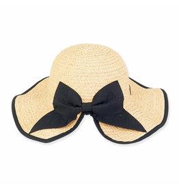 Sun N Sand Womens Hats Braided Raffia Hat w Black Bow Trim