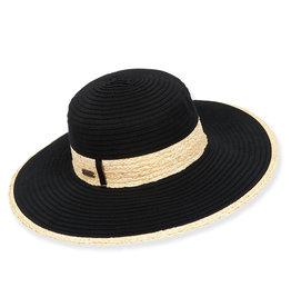 Sun N Sand Womens Ribbon Hat W Raffia Trim And Edge - Black
