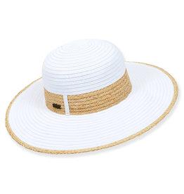 Sun N Sand Womens Ribbon Hat W Raffia Trim And Edge - White