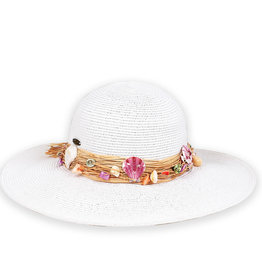 Sun N Sand Womens Hats Raffia With Seashells Hat - White