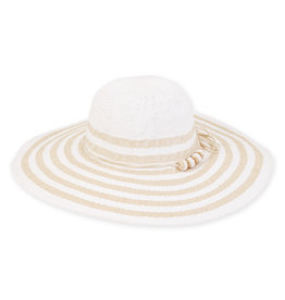 Caribbean Joe Womens Hats Floppy Straw Hat Bead Trim - White