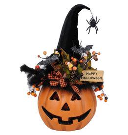 Karen Didion Halloween Lighted Fiber Optic Pumpkin 22 Inch Collectible