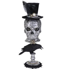 Karen Didion Halloween Silver Skull On Raven Pedestal 20 Inch