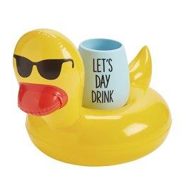 Mud Pie Wine Pool Floaty Set w Silicone Wine Glass - Ducky