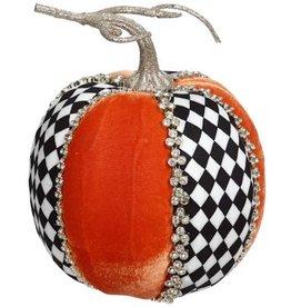 Mark Roberts Fall Decor Gemmed Harlequin Pumpkin Tall 7 Inch
