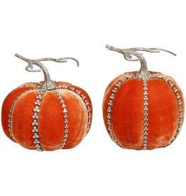 Mark Roberts Fall Decor Gemmed Couture Pumpkins Set 2 Assorted