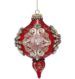 Kings Jewel Finial Ornament 7.5 Inch RED