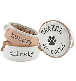 Mud Pie Travel Pet Bowls Set With Carring Case