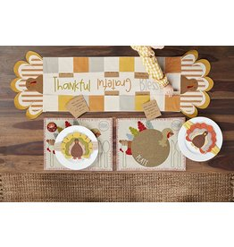 Mud Pie Thanksgiving Kids Table Turkey Runner W Game Cards