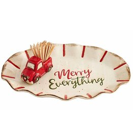 Mud Pie Christmas Merry Everything Plate W Truck Toothpick Holder