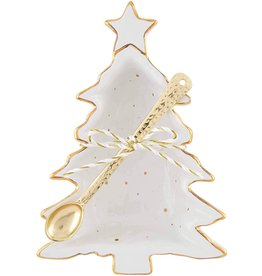 Mud Pie Christmas Tree Gold Dip Cup With Spoon Set