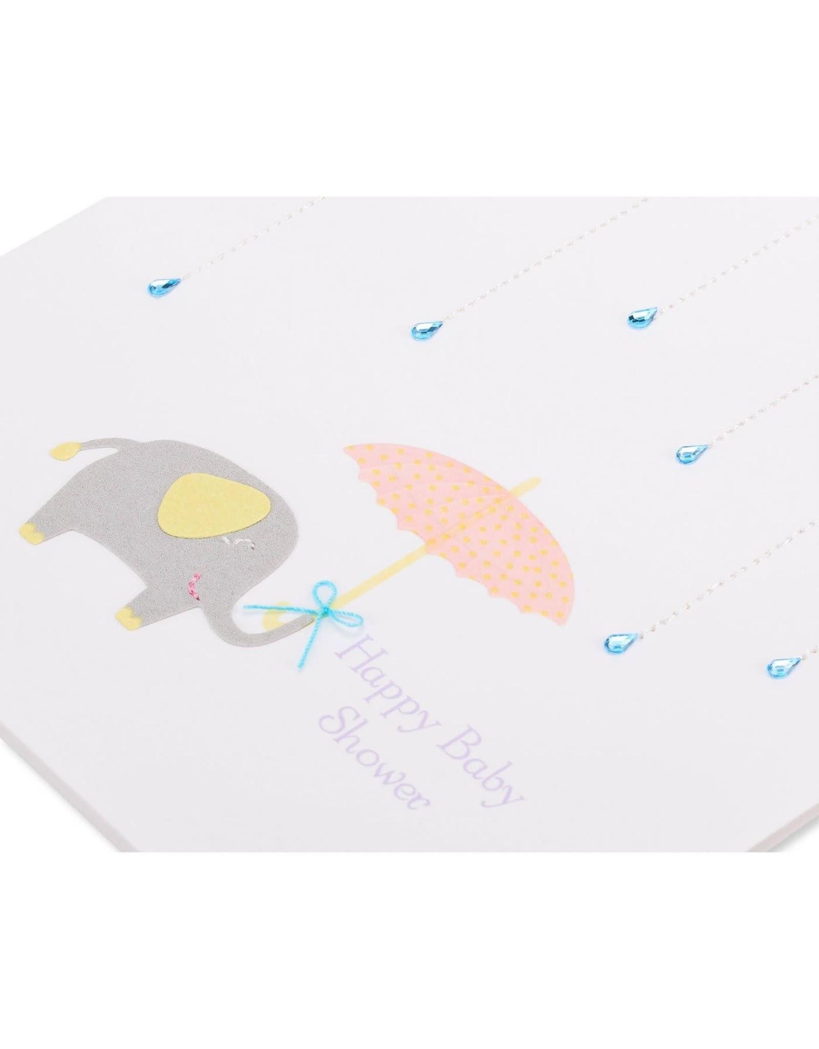 PAPYRUS® Baby Shower Card Raindrops Umbrella And Elephant