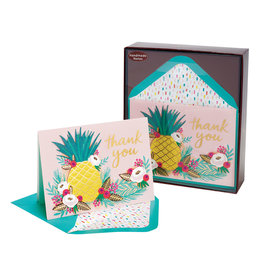 PAPYRUS® Handmade Pineapple Floral Thank You Boxed Notes Set of 8
