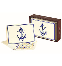 PAPYRUS® Boxed Notes Set of 16 Nautical Blue Anchor Blank Note Cards