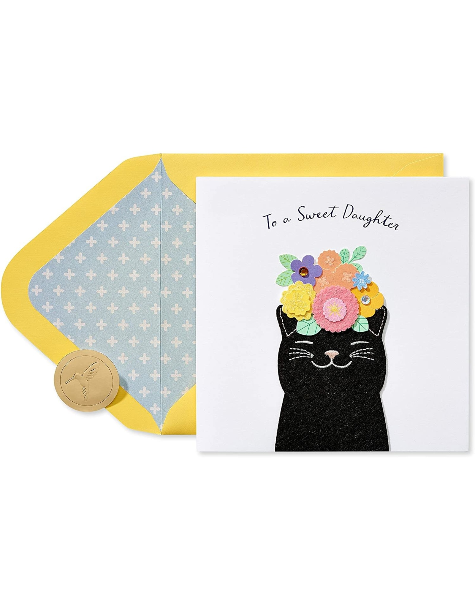 PAPYRUS® Birthday Card For Daughter Floral Cat