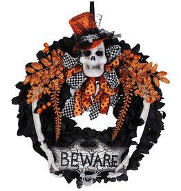 Karen Didion Halloween Wreaths Beware Skull Wreath 20x24H Inch