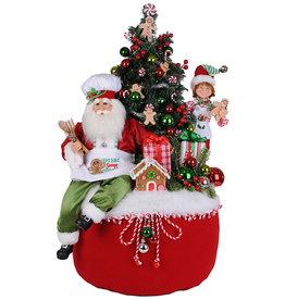 Karen Didion Lighted Gingerbread Santa Bag 16x17x30H